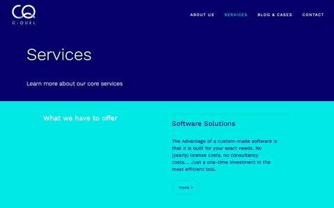 Screenshot of Services Page c-quel.be - Services - captured Nov. 1, 2018
