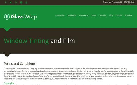 Screenshot of Terms Page glasswrap.com - Terms and Conditions - captured Feb. 2, 2019