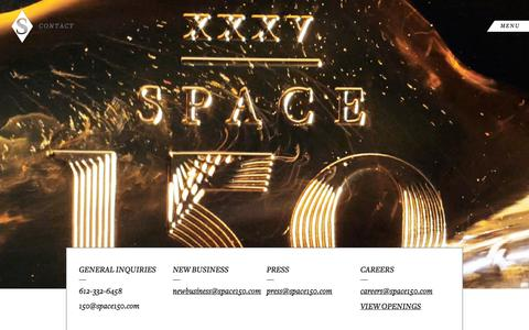 Screenshot of Contact Page space150.com - Contact space150 | Minneapolis, NYC & Los Angeles | space150 - captured Sept. 25, 2014