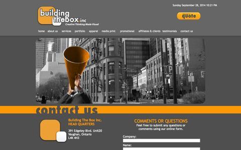 Screenshot of Contact Page buildingthebox.com - Building The Box Inc. - Creative Thinking Made Visual - captured Sept. 30, 2014