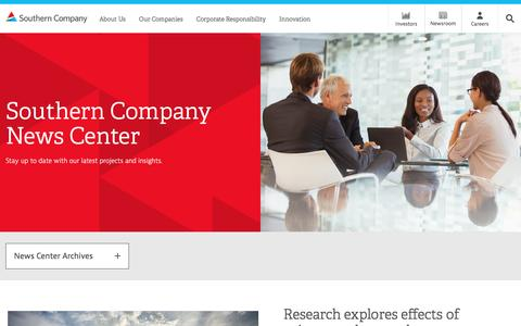 Screenshot of Press Page southerncompany.com - Newsroom - captured Feb. 28, 2017