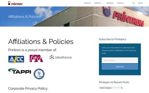 Screenshot of Privacy Page printron.com - Affiliations & Policies - Printron - captured July 21, 2018