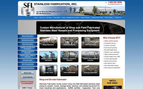 Screenshot of Home Page stainlessfab.com - Custom Stainless Steel Vessels & Processing Equipment: Stainless Fabrication: Springfield, MO - captured Oct. 6, 2014