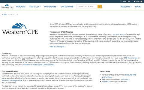 Screenshot of About Page westerncpe.com - About Us | Western CPE - captured July 20, 2019