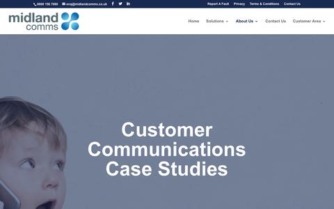 Screenshot of Case Studies Page midlandcomms.co.uk - Telecom IT Contact Centre and PA System Case Studies - captured Oct. 18, 2018