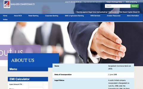 Screenshot of About Page bcblbd.com - Bangladesh Commerce Bank Ltd - captured June 27, 2018