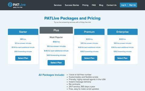Screenshot of Pricing Page patlive.com - PATLive - Plans and Pricing - captured Nov. 23, 2015