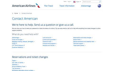 Screenshot of Contact Page aa.com - American Customer Service − Contact American - American Airlines - captured July 30, 2016