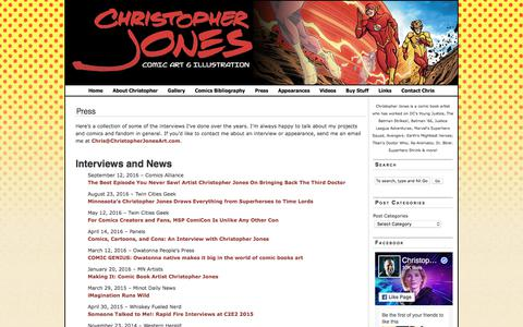 Screenshot of Press Page christopherjonesart.com - Press | Christopher Jones Comic Art and Illustration Blog - captured July 30, 2017