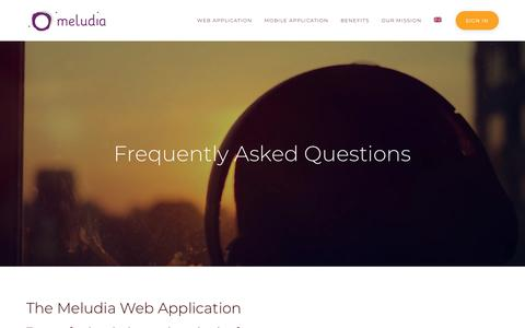 Screenshot of FAQ Page meludia.com - FAQ - Meludia - captured July 6, 2019