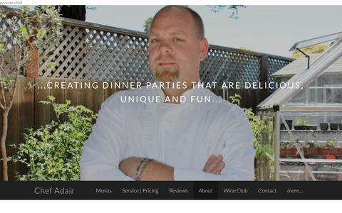 Screenshot of About Page chefadair.com - Chef Garrett Adair - Bio - Chef Adair - captured Sept. 27, 2018