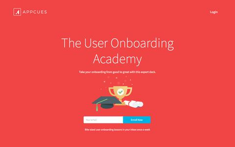 Screenshot of appcues.com - The User Onboarding Academy - A Complete Guide - captured Dec. 23, 2017