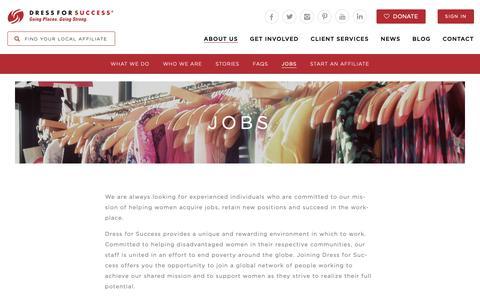 Screenshot of Jobs Page dressforsuccess.org - Jobs   Dress for Success - captured Sept. 27, 2018