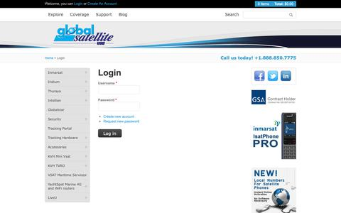 Screenshot of Login Page globalsatellite.us - Phones, wireless communications, global satellite, satellite communications, bgan - captured Sept. 28, 2018