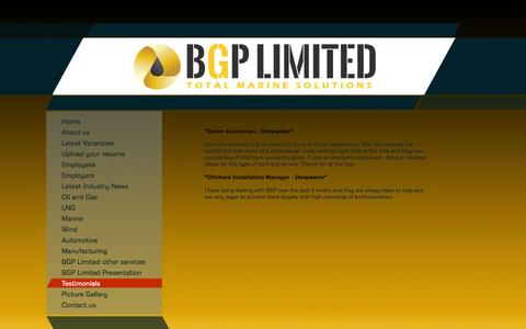 Screenshot of Testimonials Page bgplimited.com - BGP - Testimonials - captured Sept. 30, 2014