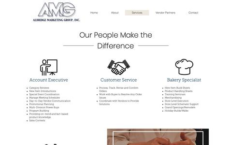 Screenshot of Services Page amgsales.net - AMG Inc. | Services - captured Oct. 3, 2018