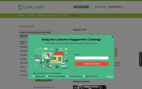 Screenshot of Contact Page capillarytech.com - Get in touch with Capillary Technologies - captured Nov. 5, 2015