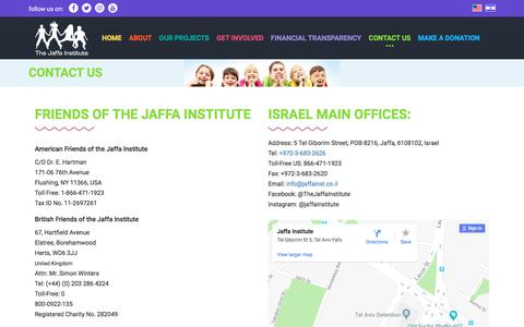 Screenshot of Contact Page jaffainstitute.org - Contact Us | The Jaffa Institute - captured July 13, 2018
