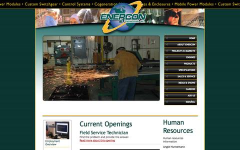 Screenshot of Jobs Page enercon-eng.com - Career Opportunities - captured Oct. 2, 2014