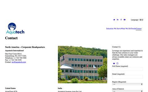 Screenshot of Contact Page aquatech.com - Contact – Aquatech - captured Jan. 15, 2018