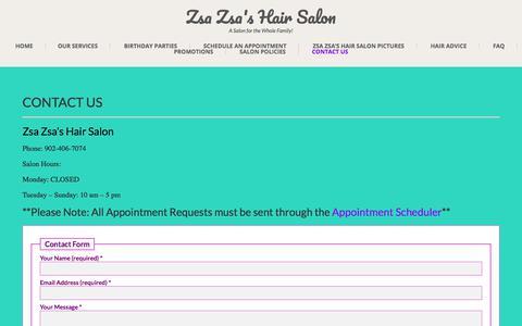 Screenshot of Contact Page zsazsashairsalon.ca - Contact Us ⋆ Zsa Zsa's Hair Salon - captured Nov. 3, 2017