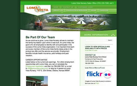 Screenshot of Jobs Page lomavistanursery.com - Loma Vista Careers - captured May 22, 2017