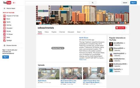 Screenshot of YouTube Page youtube.com - odbeachrentals  - YouTube - captured Nov. 4, 2014