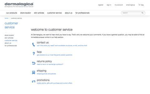 Screenshot of Support Page dermalogica.co.nz - Customer Service | Skin Care Products Online | Dermalogica NZ - captured Oct. 12, 2017