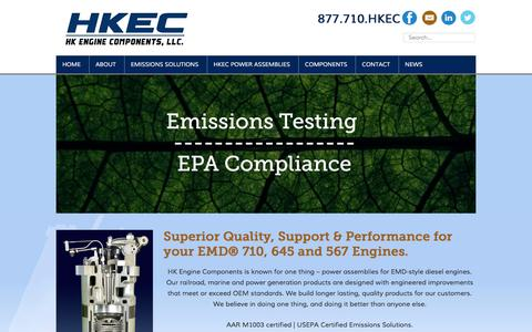 Screenshot of Home Page hkec.com - HK Engine Components, LLC - Power Assemblies - captured Jan. 24, 2016