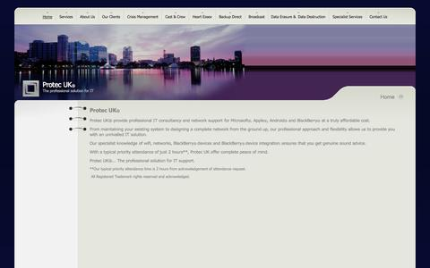 Screenshot of Home Page protecuk.com - Protec UK - The professional solution for IT - captured Sept. 30, 2014
