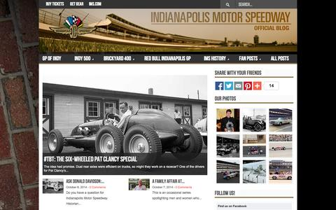 Screenshot of Blog ims.com - The Official Blog Of The Indianapolis Motor Speedway - captured Oct. 9, 2014