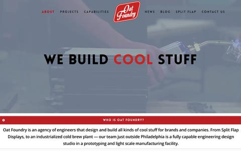 Screenshot of About Page oatfoundry.com - Electromechanical Design & Product Development   Brand Activation & Fabrication - captured Oct. 20, 2018