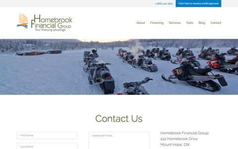 Screenshot of Contact Page homebrookfinancial.ca - Contact Us | Homebrook Financial Group - captured Dec. 15, 2018