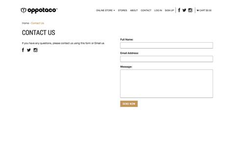 Screenshot of Contact Page oppotaco.com - Contact Us : OPPOTACO -, Sports & Lifestyle Apparel - captured Nov. 3, 2014