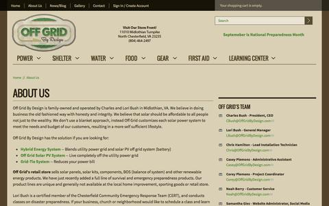 Screenshot of About Page offgridbydesign.com - About Us | Off Grid By Design - captured Oct. 27, 2014