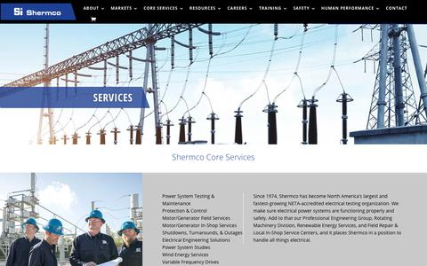 Screenshot of Services Page shermco.com - Shermco Core Services - Shermco industries - captured Nov. 9, 2019
