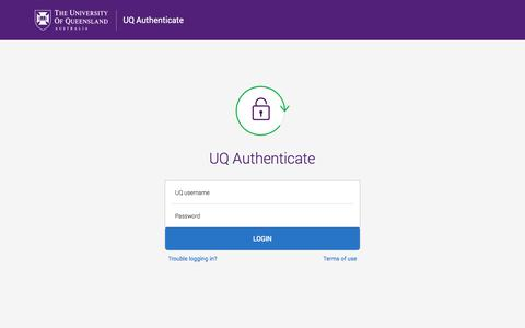 Screenshot of Login Page uq.edu.au - Enter your username and password - The University of Queensland, Australia - captured Nov. 4, 2019