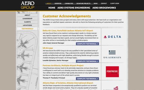 Screenshot of Testimonials Page theaerogroup.net - AERO Group | Delta Airlines | US Airways | Fentress Architects | Orlando International Airport  |  The AERO Group - captured Oct. 4, 2014