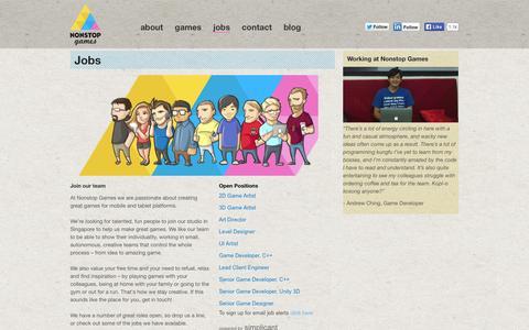 Screenshot of Jobs Page nonstop-games.com - Jobs | Nonstop Games - captured Sept. 16, 2014