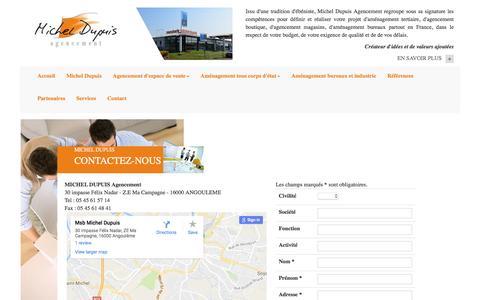 Screenshot of Contact Page agencement-michel-dupuis.fr - Agencement de magasin, agencement de boutique, aménagement de bureau, agencement tertiaire et restaurant : Michel Dupuis, contactez-nous, devis, projet - captured Nov. 18, 2016