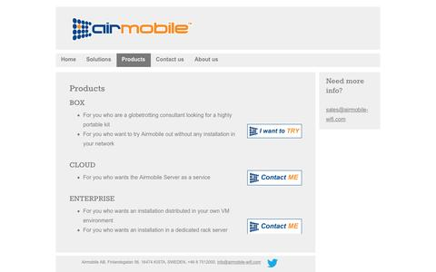 Screenshot of Products Page airmobile.se - Products - captured Nov. 20, 2016