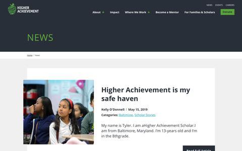 Screenshot of Press Page higherachievement.org - News - Higher Achievement - captured June 13, 2019