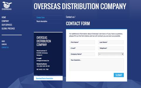 Screenshot of Contact Page overseas.be - Contact Form | Overseas Distribution Company - captured Oct. 7, 2014