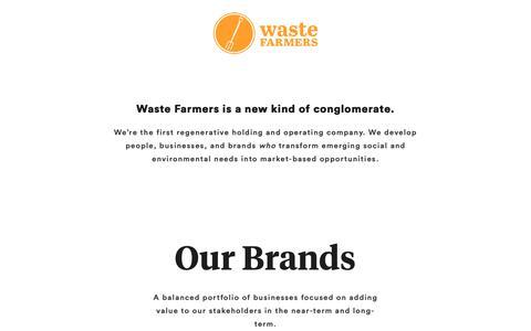 Screenshot of Home Page wastefarmers.com - Waste Farmers – A regenerative holding company - captured Nov. 6, 2018