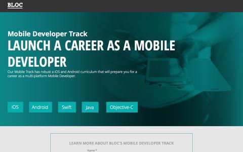 Screenshot of Landing Page bloc.io - Bloc's Intensive Mobile Development Career Track - captured Oct. 29, 2016