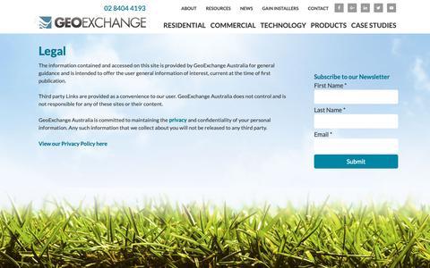 Screenshot of Terms Page geoexchange.com.au - Legal - captured Sept. 27, 2018