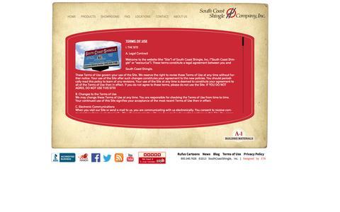 Screenshot of Terms Page southcoastshingle.com - Terms of Use | SouthCoastShingle - captured Oct. 7, 2014