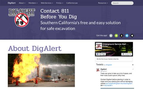 Screenshot of About Page digalert.org - DigAlert.org - About DigAlert | California's Underground Utility Location Services - captured June 30, 2018