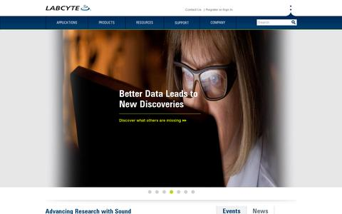 Screenshot of Home Page labcyte.com - Labcyte Inc. | The Future of Science is Sound - captured July 11, 2014