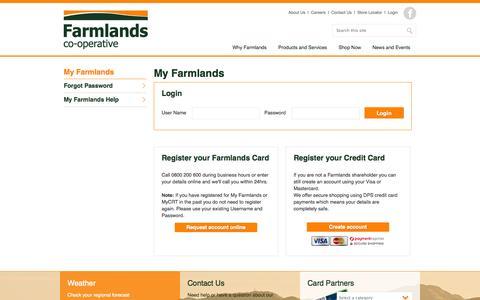 Screenshot of Login Page farmlands.co.nz - Farmlands - My Farmlands - captured Nov. 1, 2014